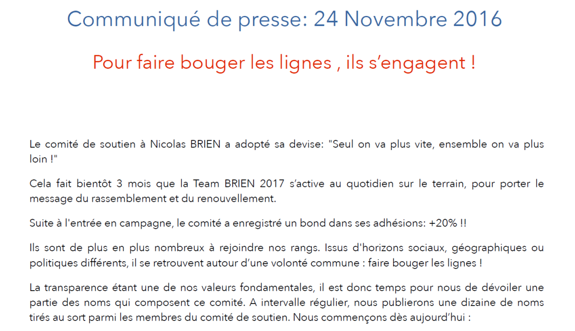 Le communiqué de presse de la Team #Brien2017 sans les noms