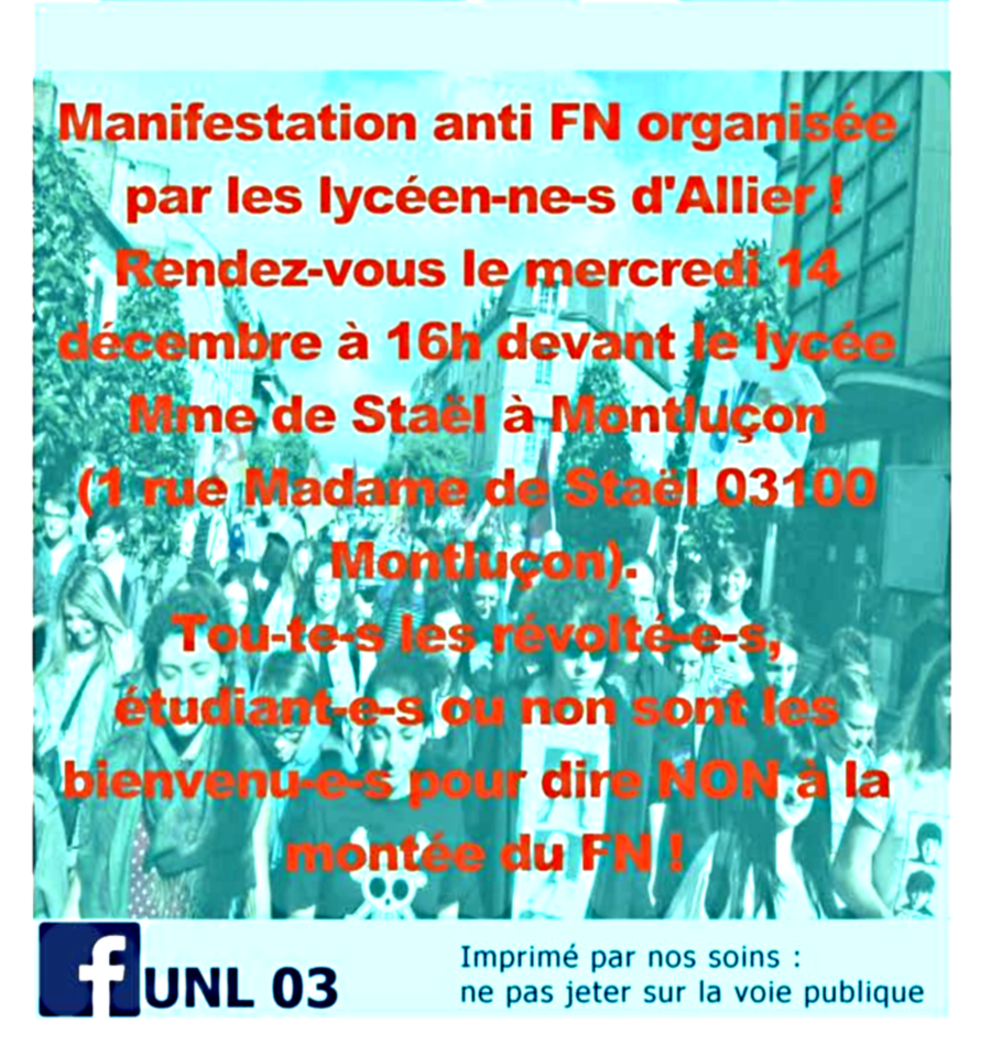 L'Union nationale lycéenne manifestera contre la montée du FN le 14 décembre à Montluçon