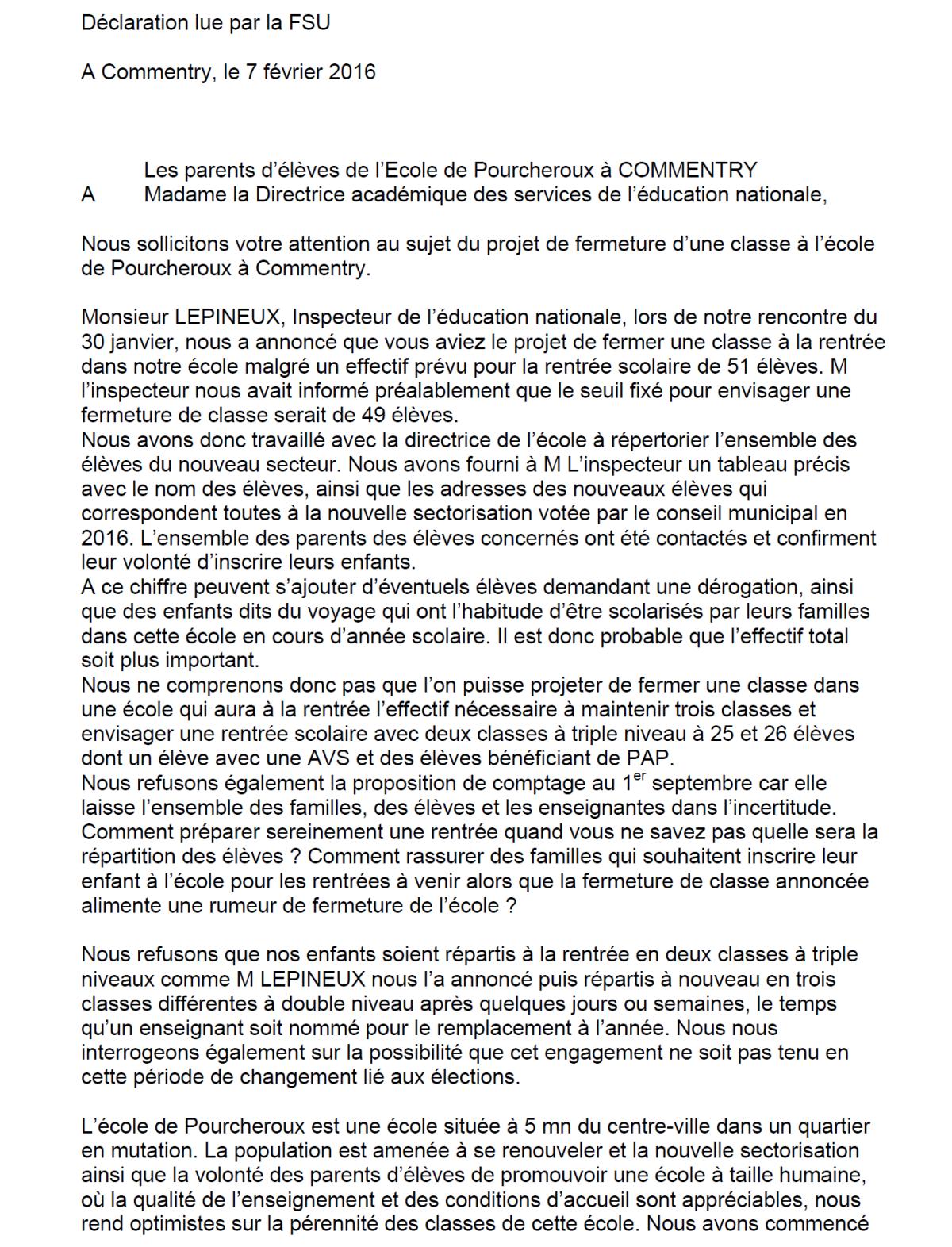 Déclaration lue par les représentants de la FSU lors de la CTSP