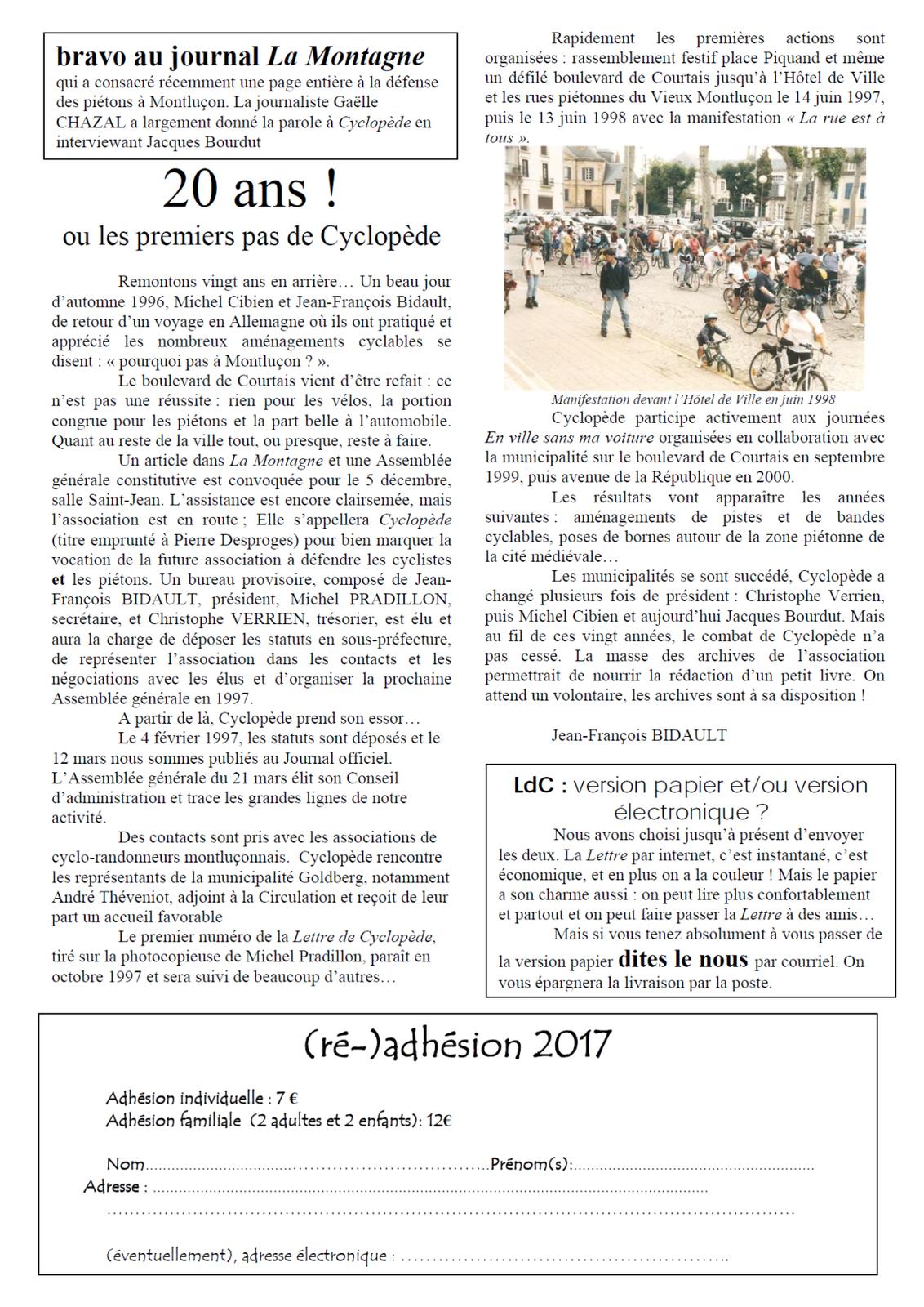 La lettre de cyclopède n° 70 du mois de mars 2017