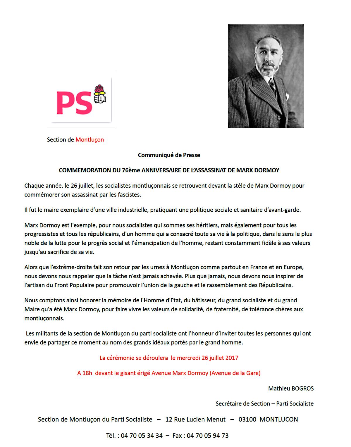 Commémoration du 76em anniversaire de l'assassinat de Marx Dormoy