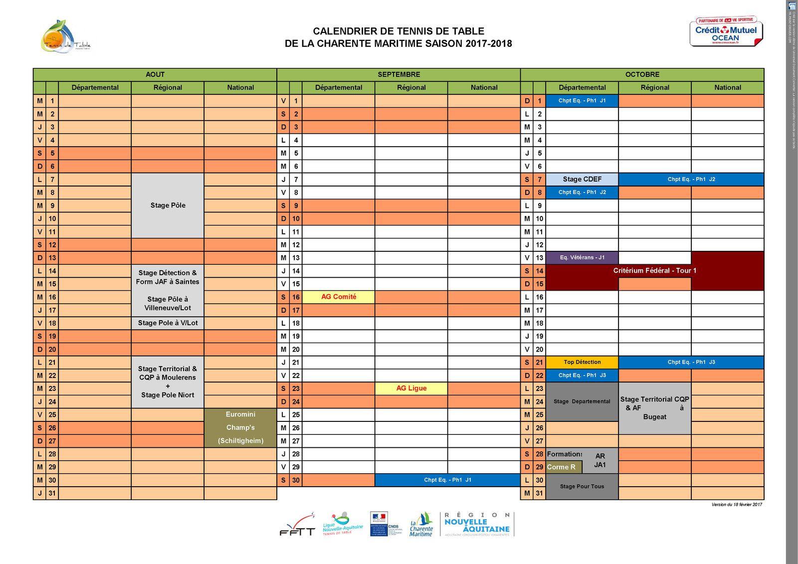 Calendrier détaillé avec les lieux des compétitions 2016-2017 (hors championnat par équipes)