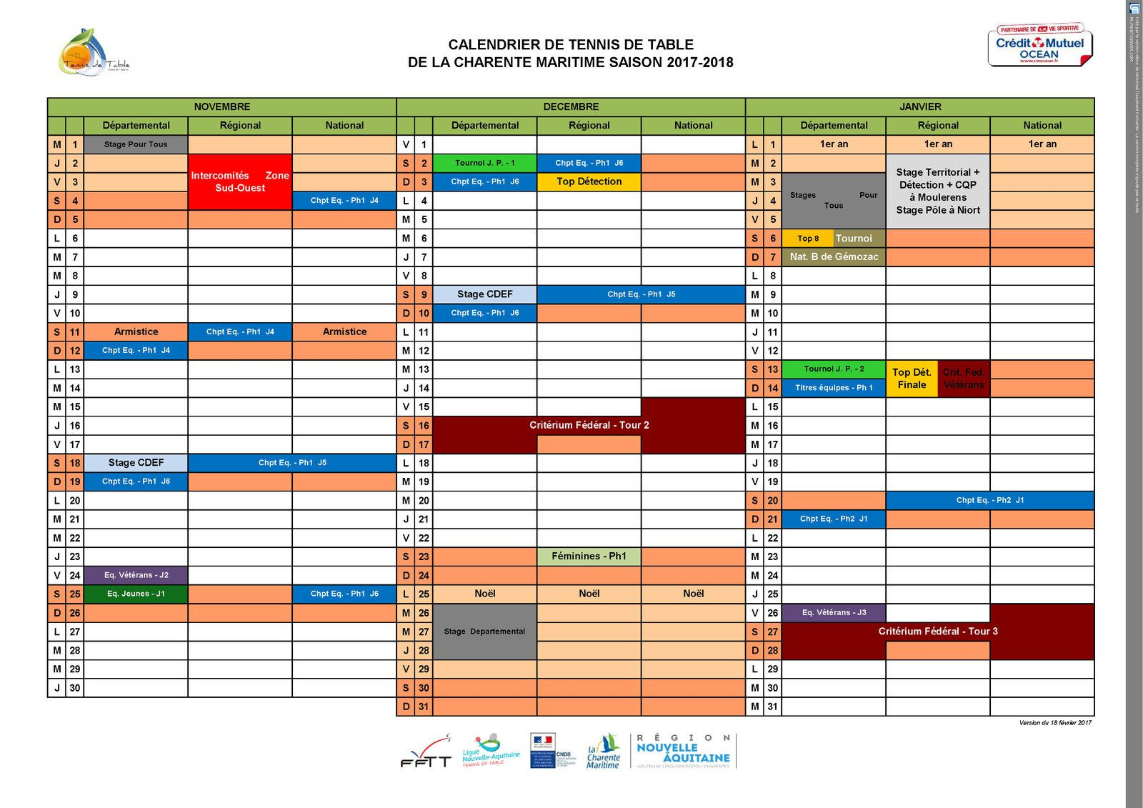 9/ LES CALENDRIERS 2017-2018