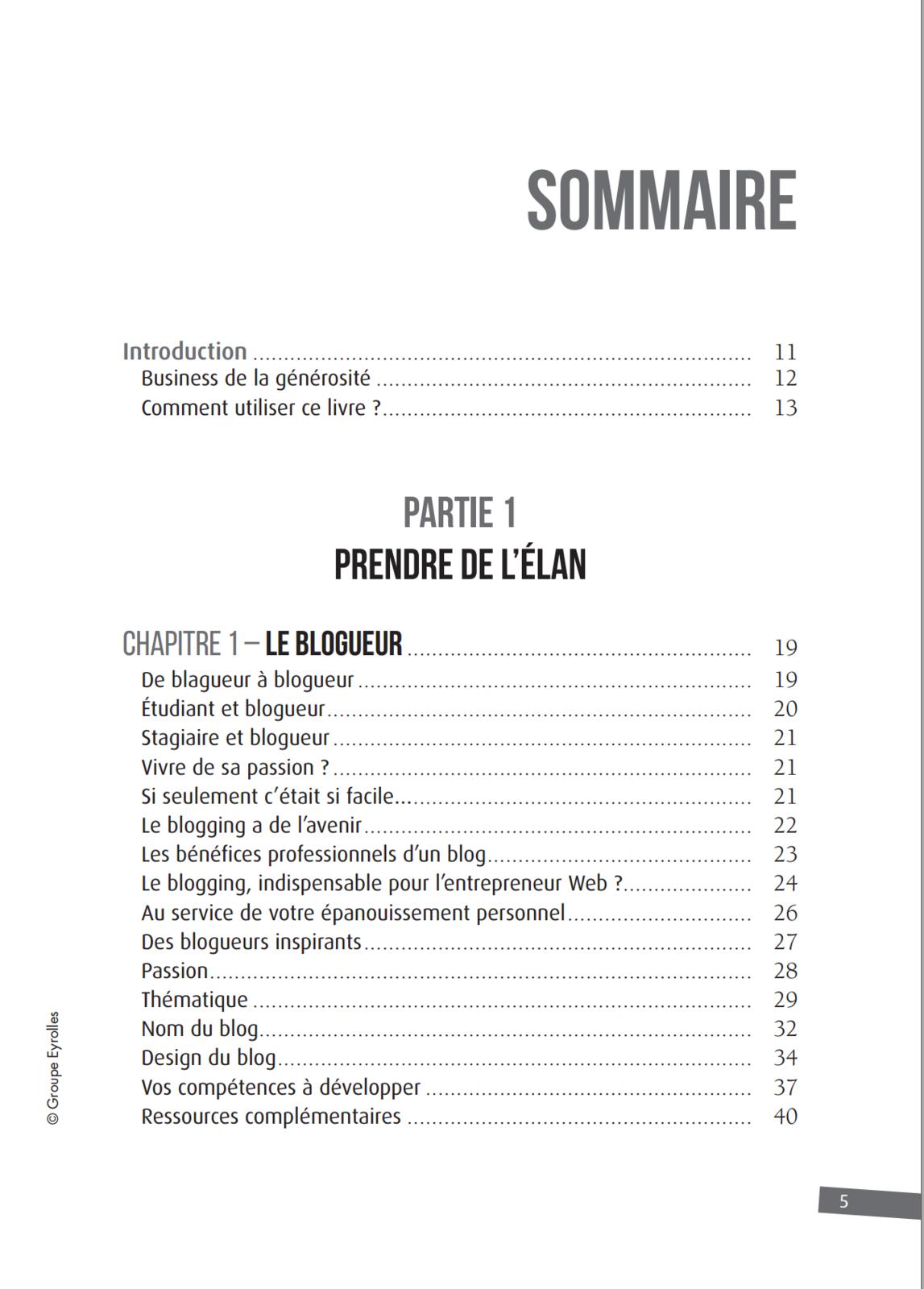 Le sommaire complet du livre