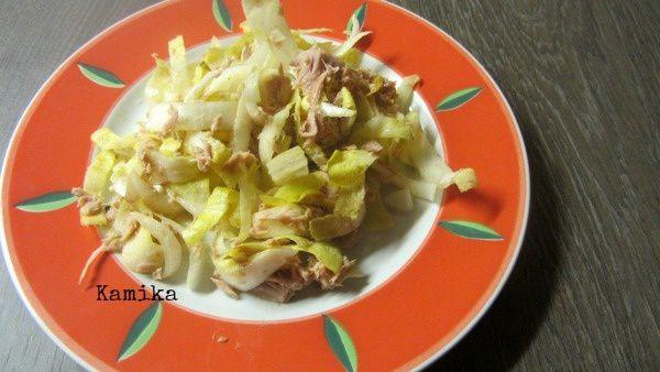 Menu du 31 janvier Salade d'endives et thon