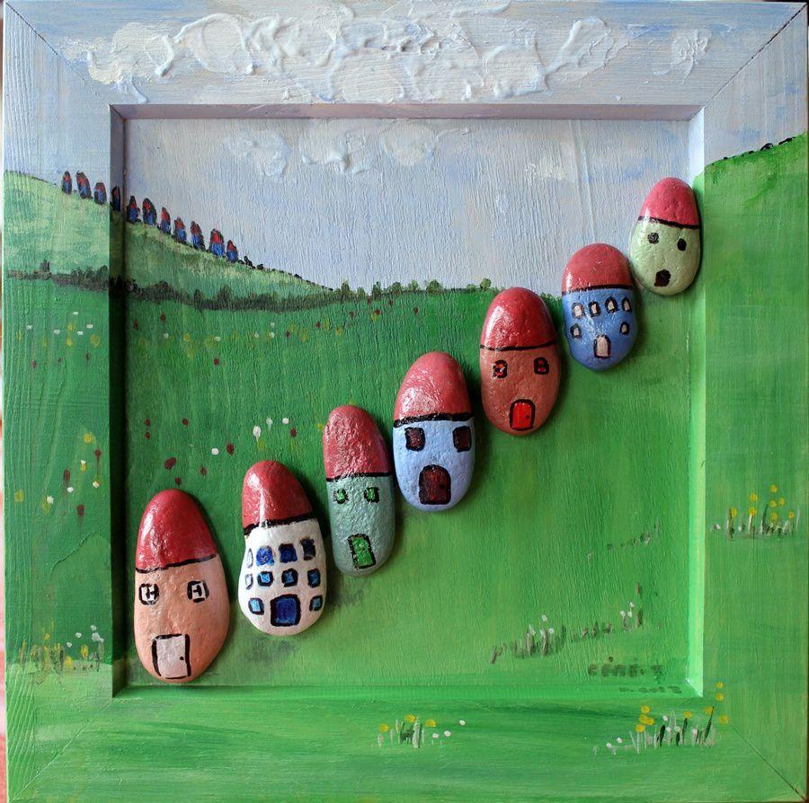 maisons sur la colline - peinture acrylique sur cadre bois