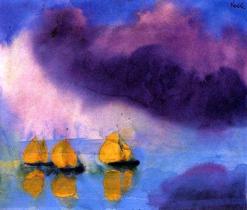 Emil Nolde, Mer avec nuages violets et trois voiliers jaunes, aquarelle, 1946