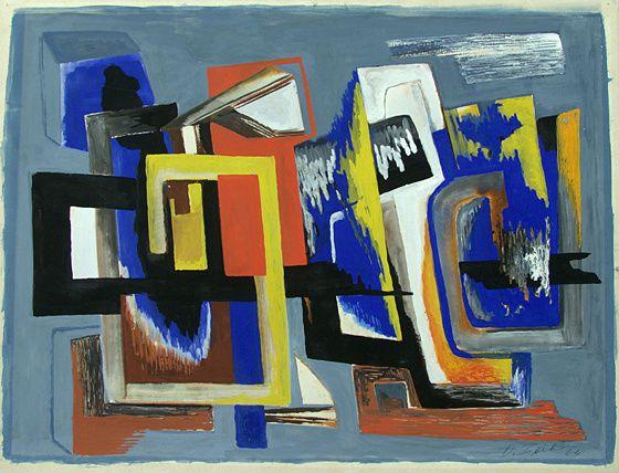 Ossip Zadkine, Compostion, 1964, gouache sur papier, 45 x 64 cm