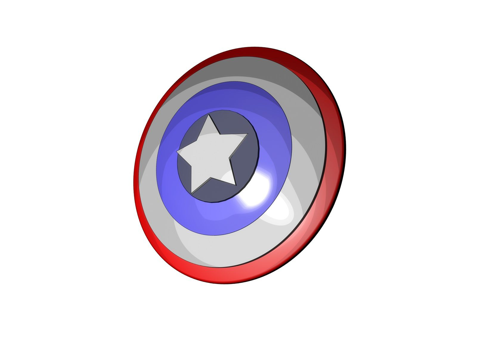 Bouclier du Captain America ( le second rendu Cartoon sous C4D )