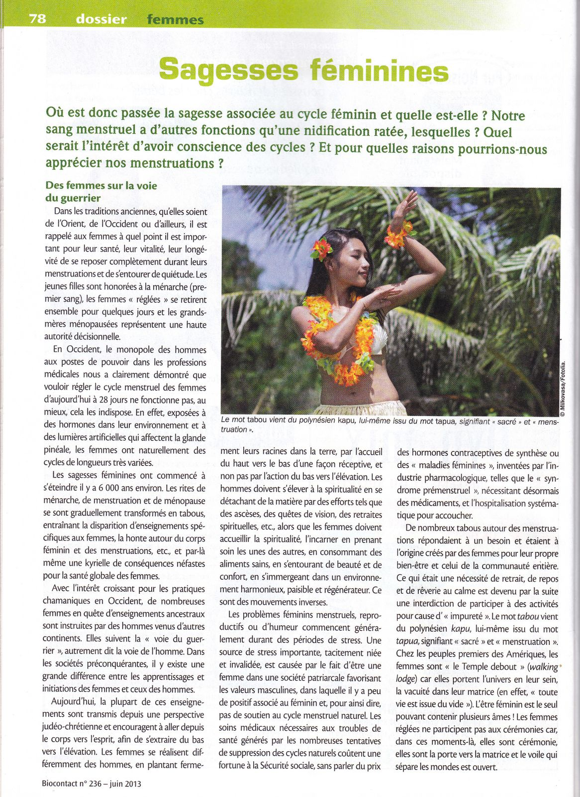 Article du BIOCONTACT  juin 2013