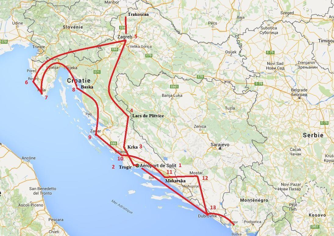 Voici notre parcours en passant par la Bosnie et le Monténégro.