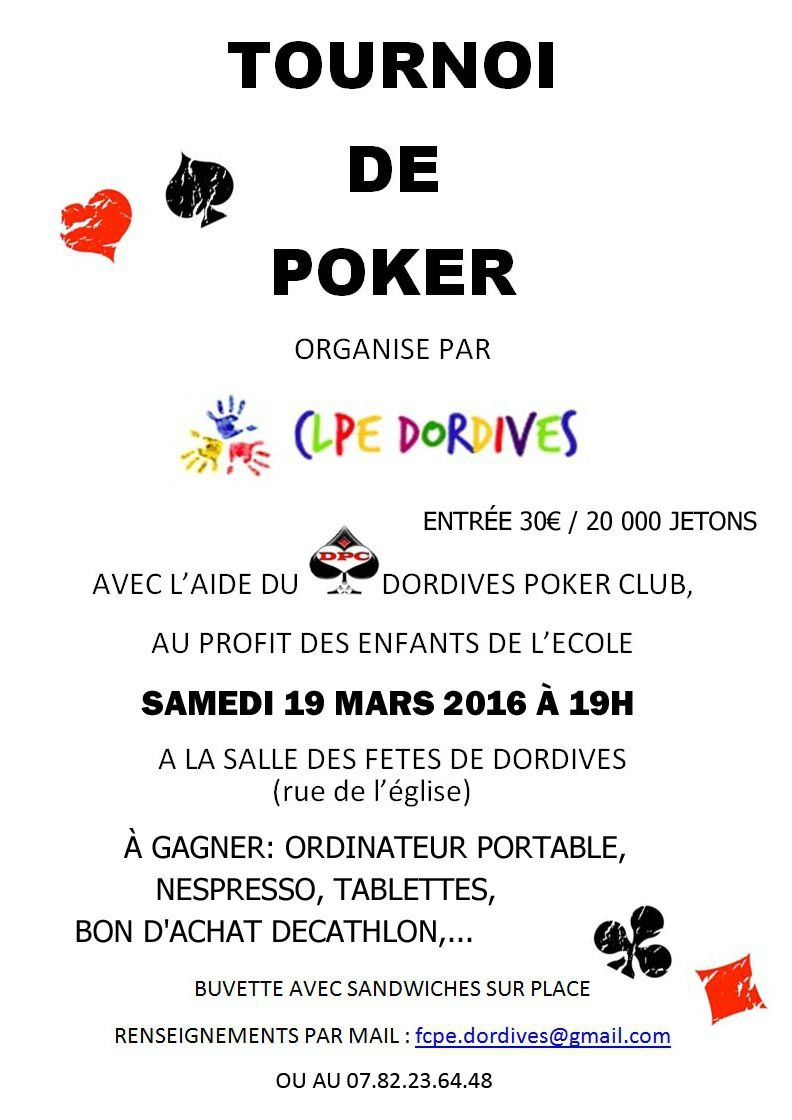 Tournoi de poker - 19 Mars 2016