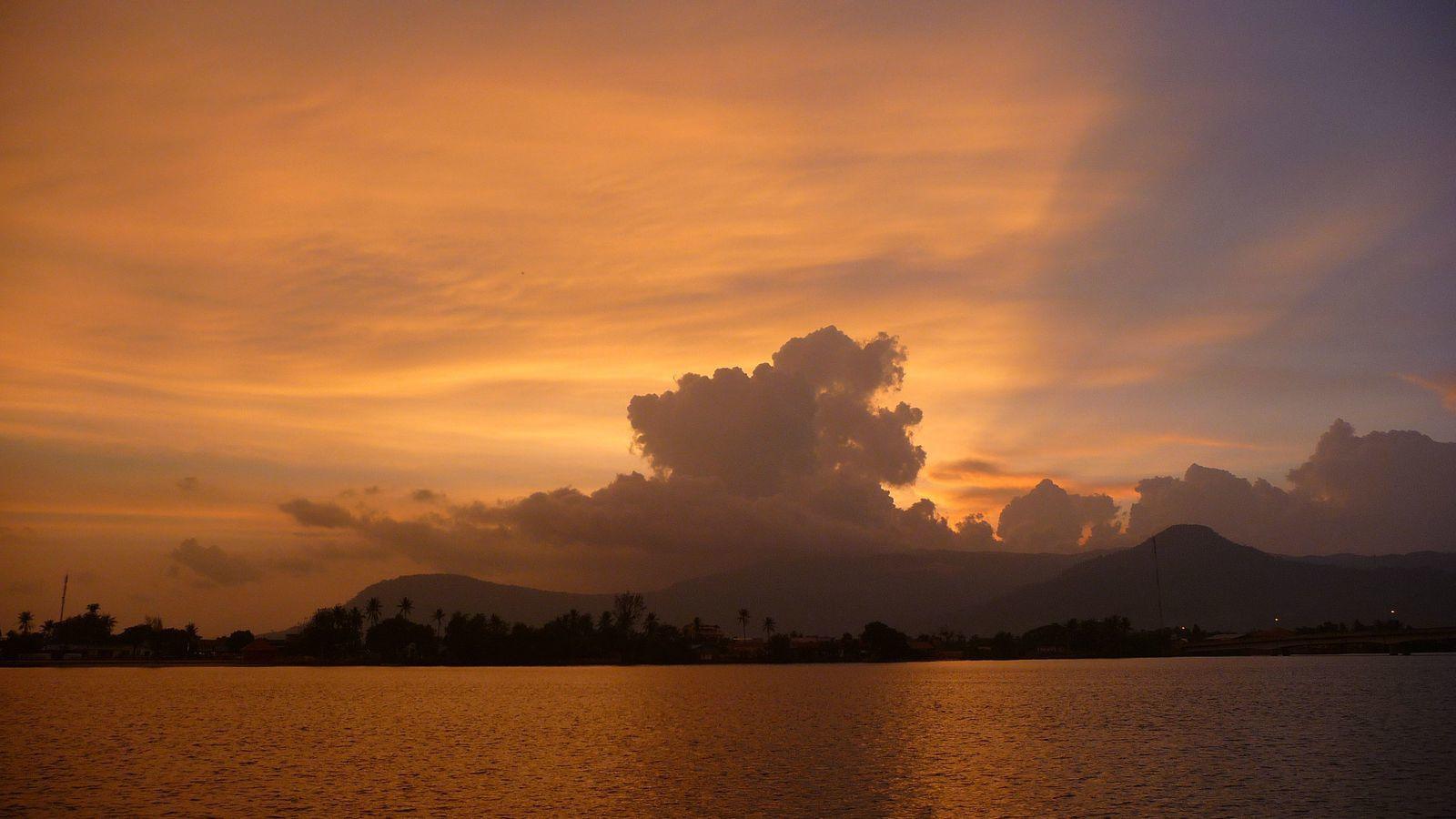 Accueillis par un coucher de soleil sublime.