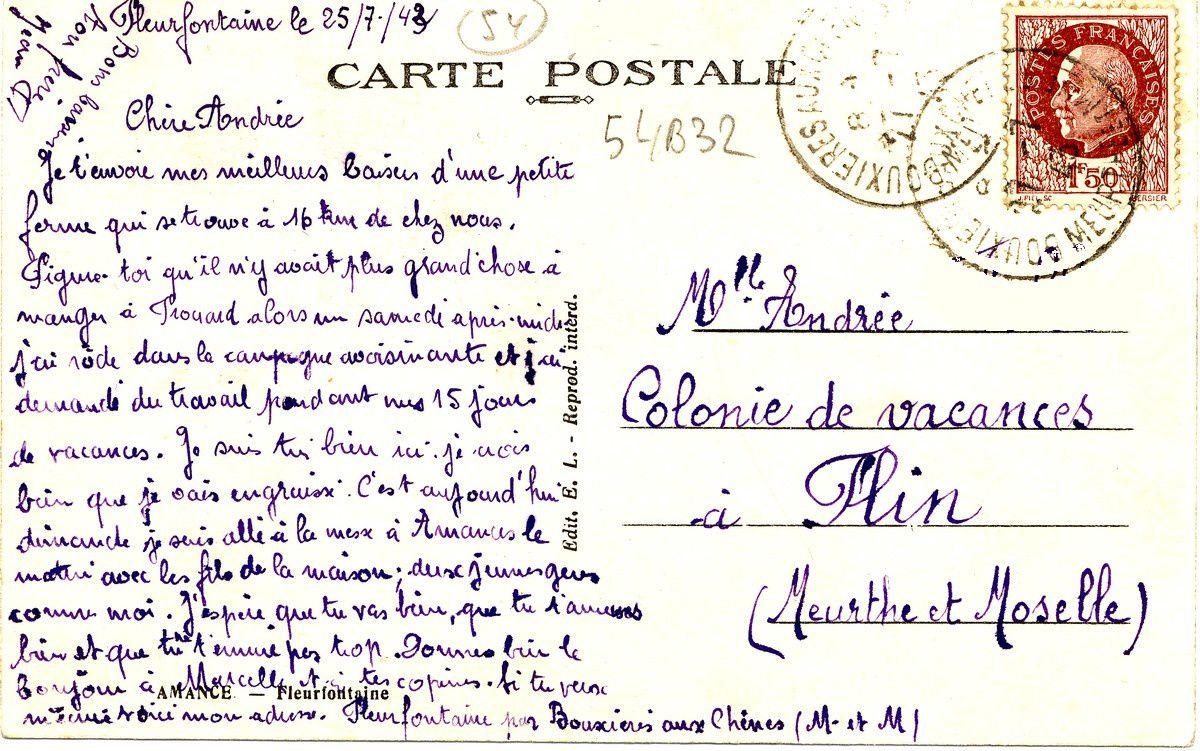 Fleurfontaine 1943 : travailler pour manger