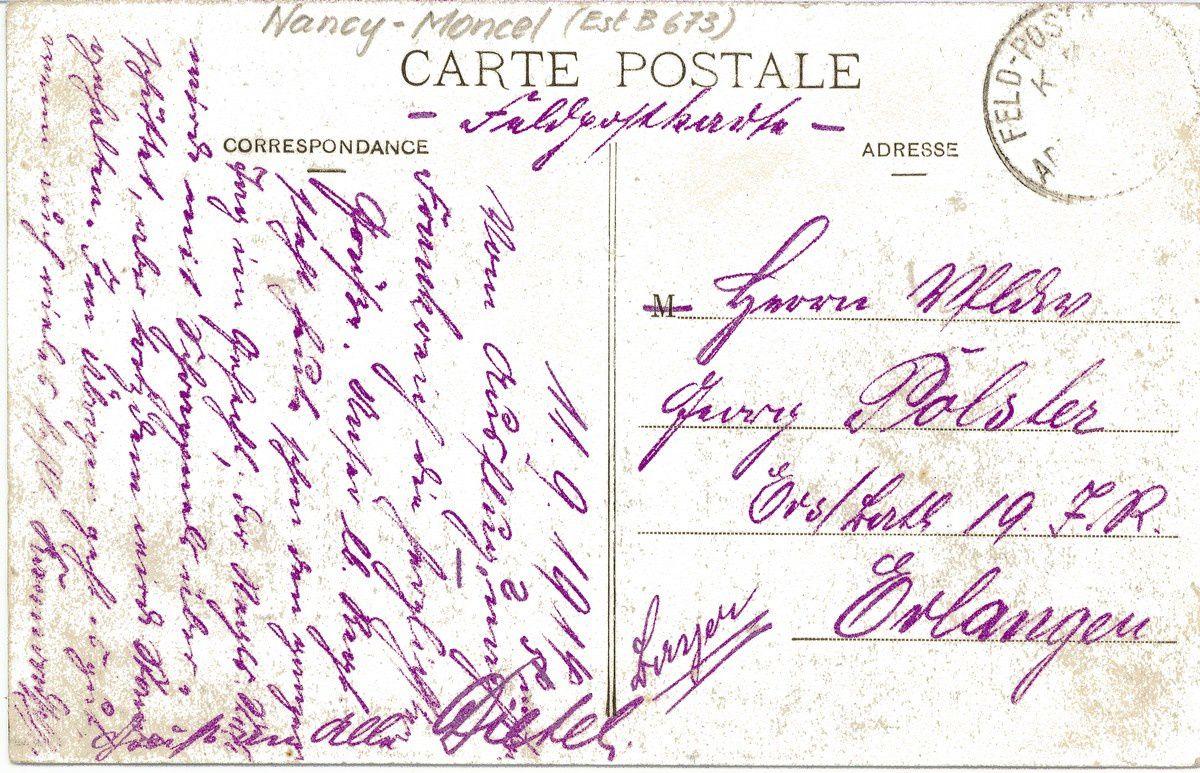 Carte expédiée par un soldat allemand le 11 septembre 1914
