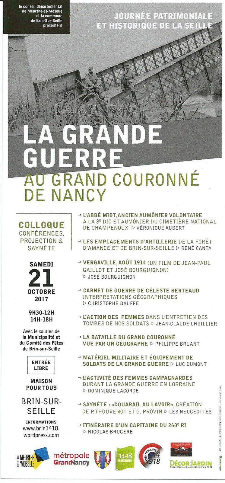 La guerre 1914-1918 : rencontres et débats à Brin-sur-Seille le 21 octobre 2017