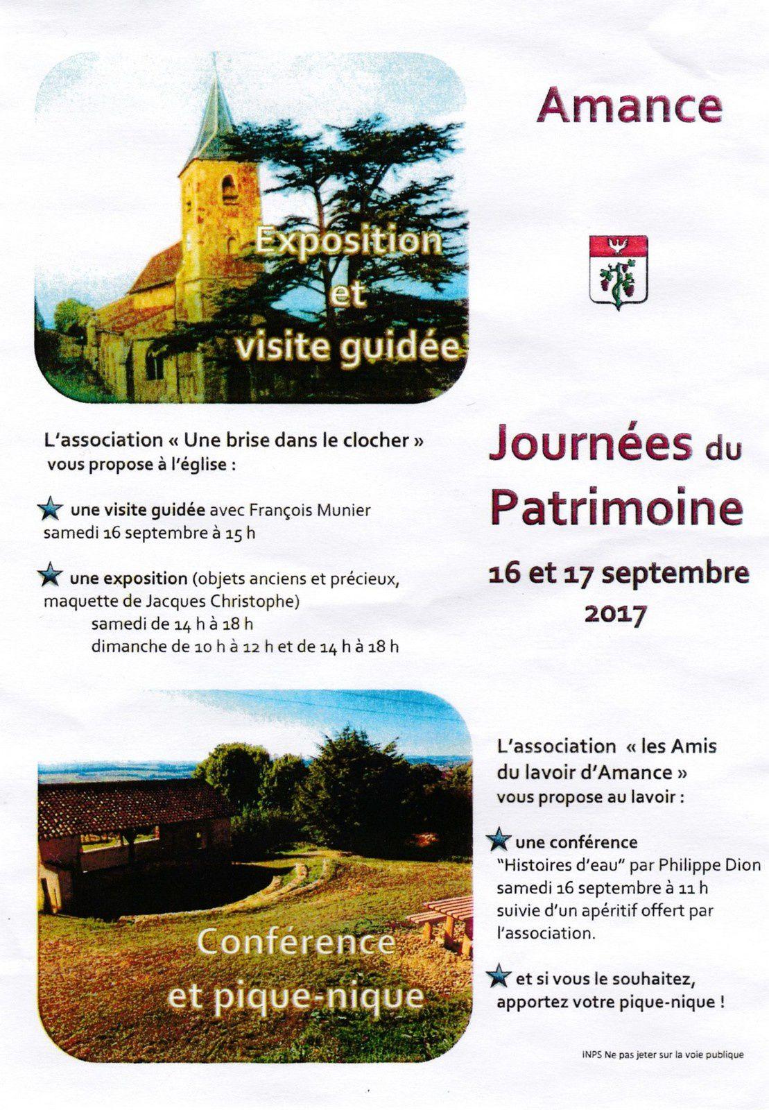 Journées du patrimoine 2017 à Amance