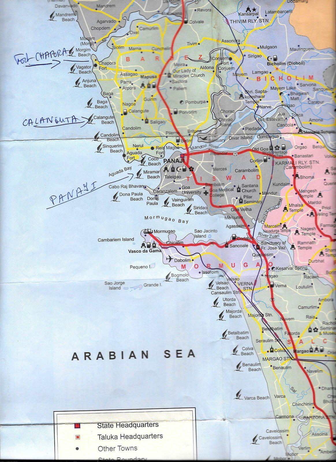 Voici une partie de la carte de GOA, demain je vais à PANAJI, après demain dans le nord à Fort CHAPORA