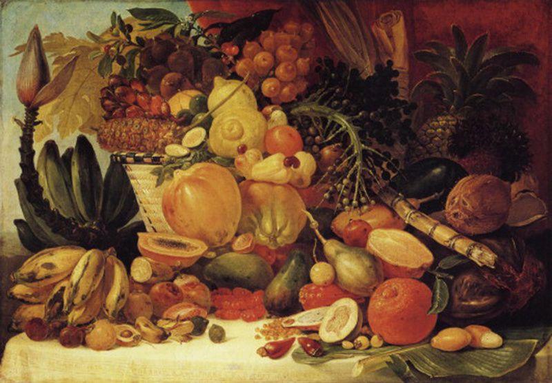 """""""Les fruits du nouveau monde"""", peint à Rio de Janeiro en 1822 par Jean-Baptiste DEBRET"""