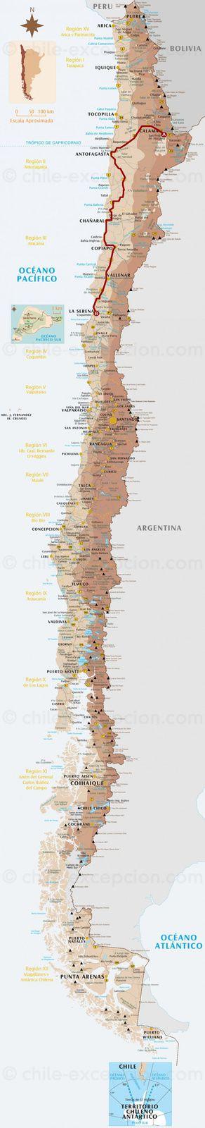 Le trajet San Pedro d'Atacama - La Serena à l'échelle du Chili (1 200 kms de route).