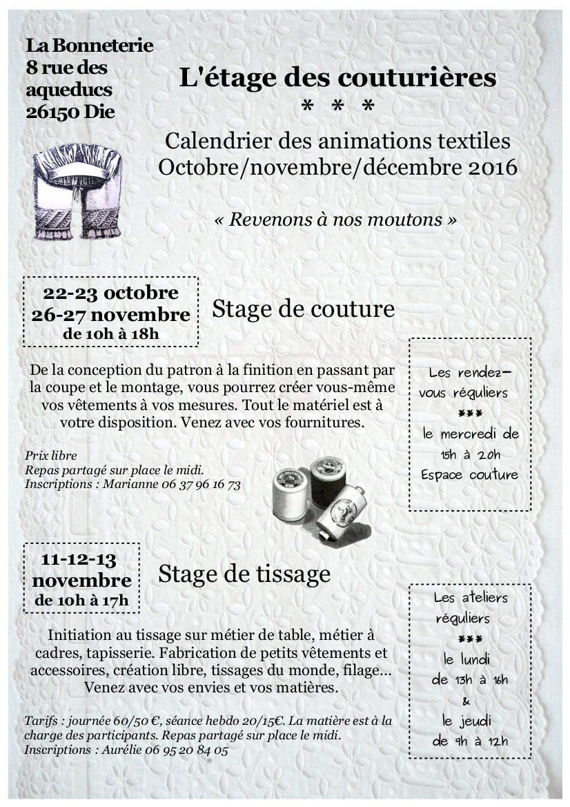 programme oct-nov-dec des animations à la Bonneterie