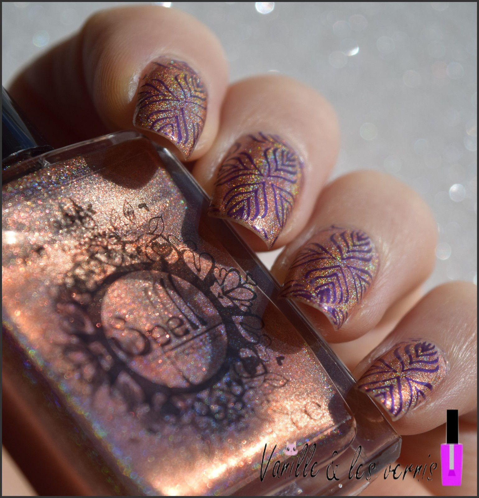 Orange holo &amp&#x3B; purple stamp'