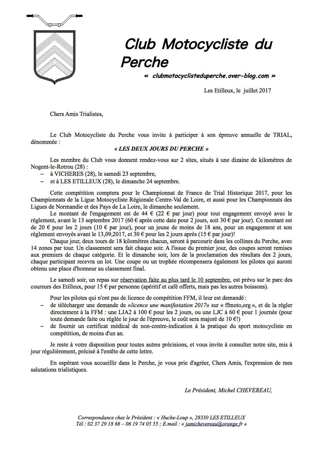 MISES À JOUR DES INFOS DES DEUX JOURS DU PERCHE 2017