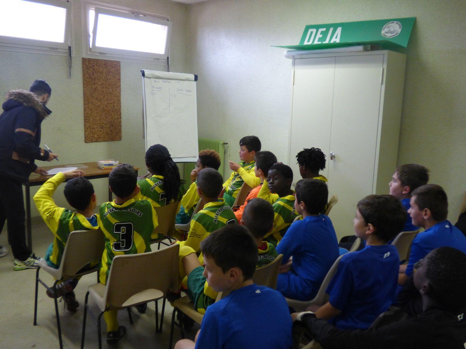 """Interclub avec AS St Siméon avec deux ateliers éducatifs """"Comment bien préparer son sac de foot """" pour les U7 U9 et un quizz pour les U11 animés par Hicham et Jordan, nos deux services civiques"""