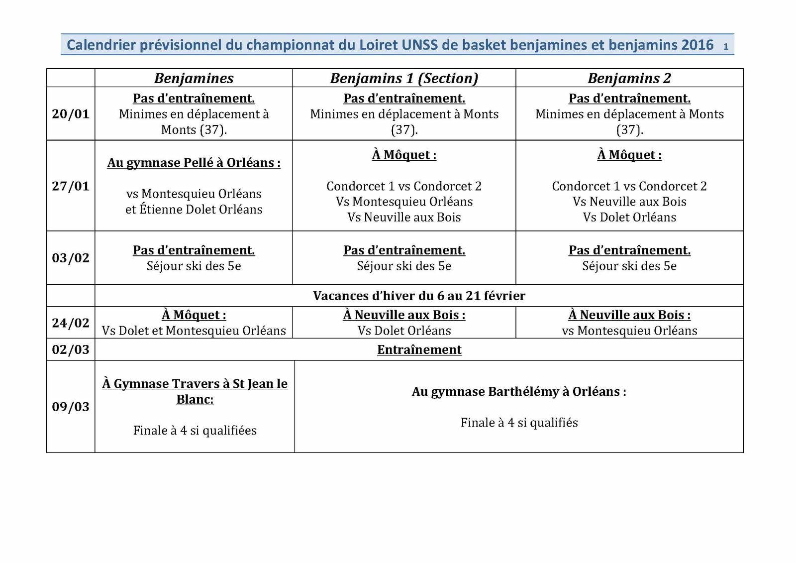 Calendrier &quot&#x3B;basket&quot&#x3B; du championnat du Loiret (modifié)