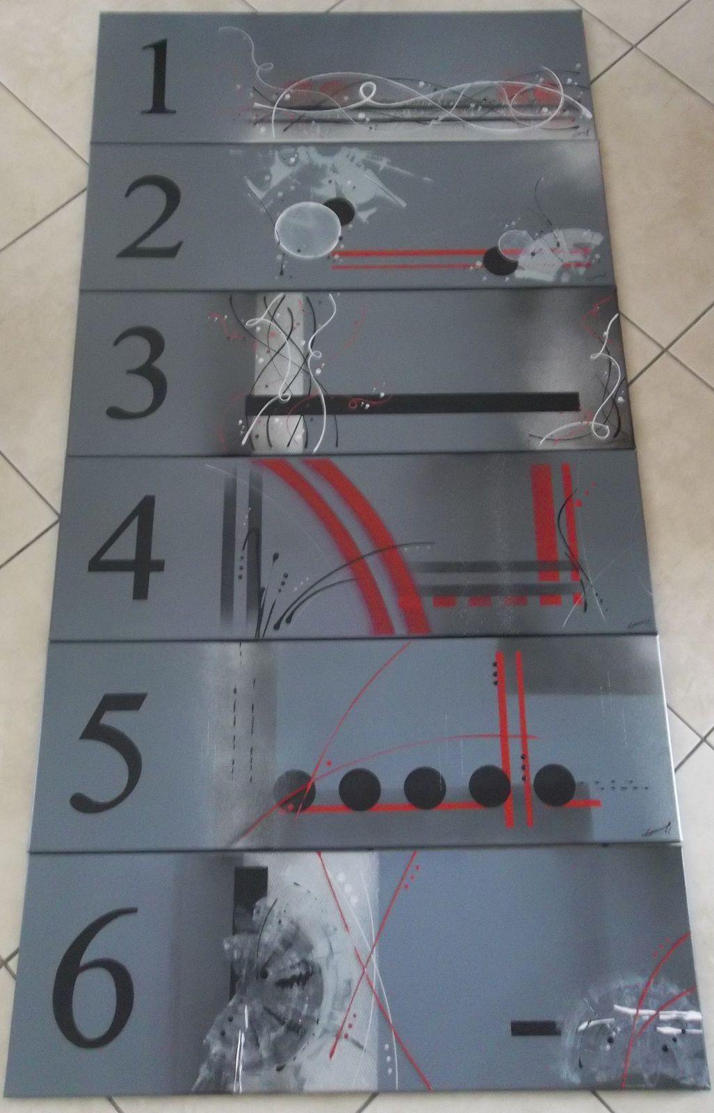 les 6 toiles 30x90 cm réunies
