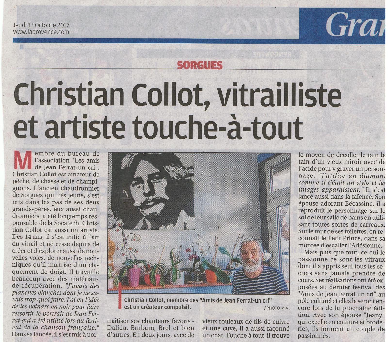 Christian Collot à l'honneur sur La Provence