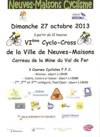 VIème Cyclo-Cross de la Ville de Neuves-Maisons
