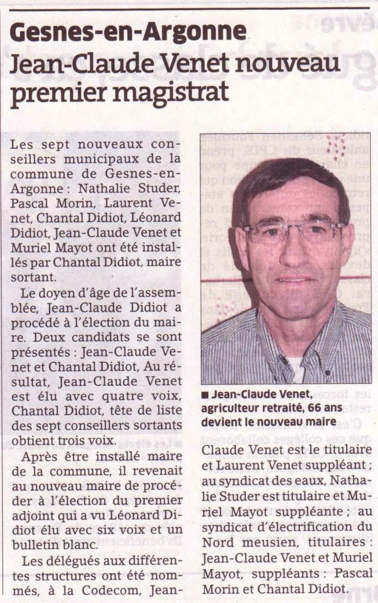 Un nouveau maire à Gesnes