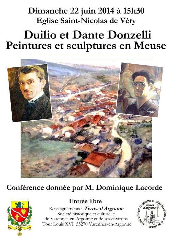 """Je fais une conférence à VERY, près de Varennes-en-Argonne le dimanche 22 juin 2014 à 15 h 30 dans l'église Saint-Nicolas de Véry sur le thème : """"Duilio et Dante DONZELLI, peintures et sculptures en Meuse"""". L'église de Véry a été entièrement peinte par des fresques de Donzelli : choeur, voûte, chemin de croix, plafond... Magnifique décor pour ma conférence !!! Entrée libre. Conférence organisée par l'association Terres d'Argonne de Varennes."""
