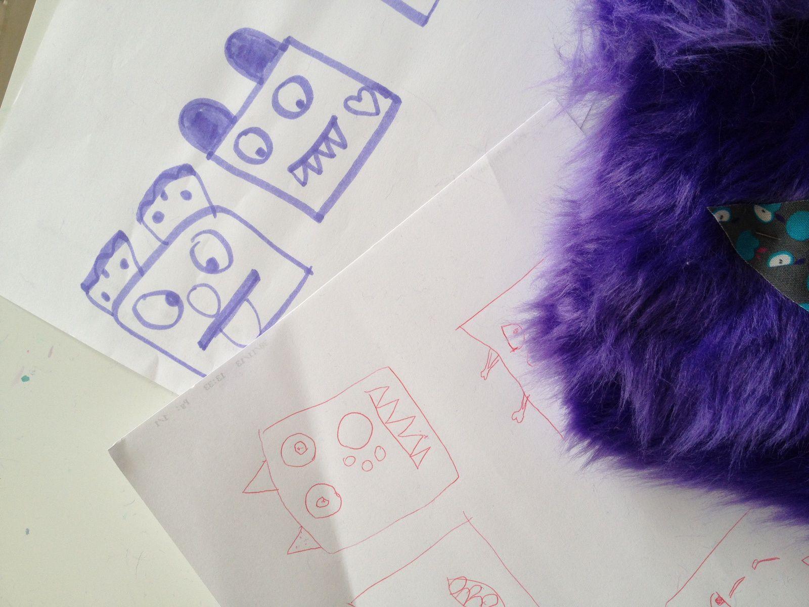 projet couture, des monstres rgolos réalisés par mes 5 et 8ans