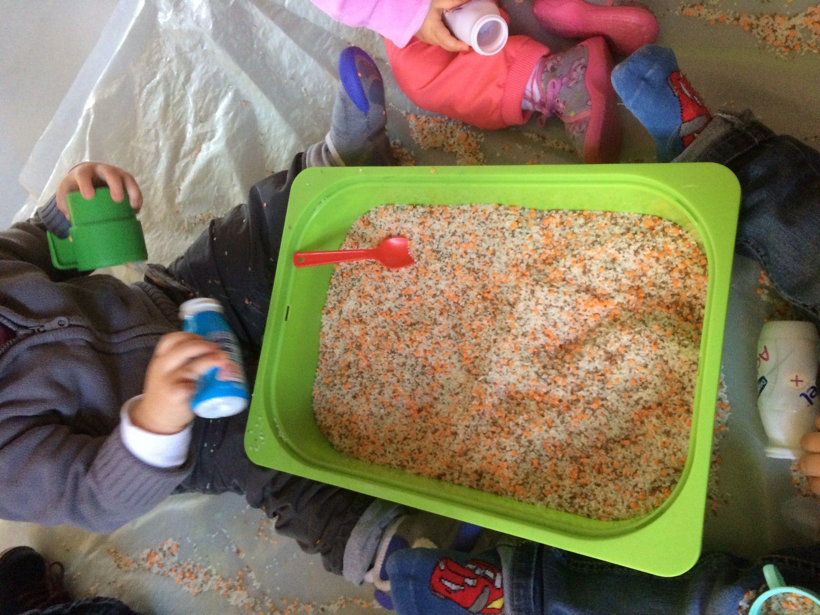 boite sensorielle concassé de riz et lentille coraille