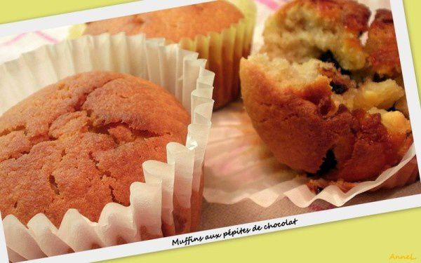 Muffins fondants aux pépites de chocolat