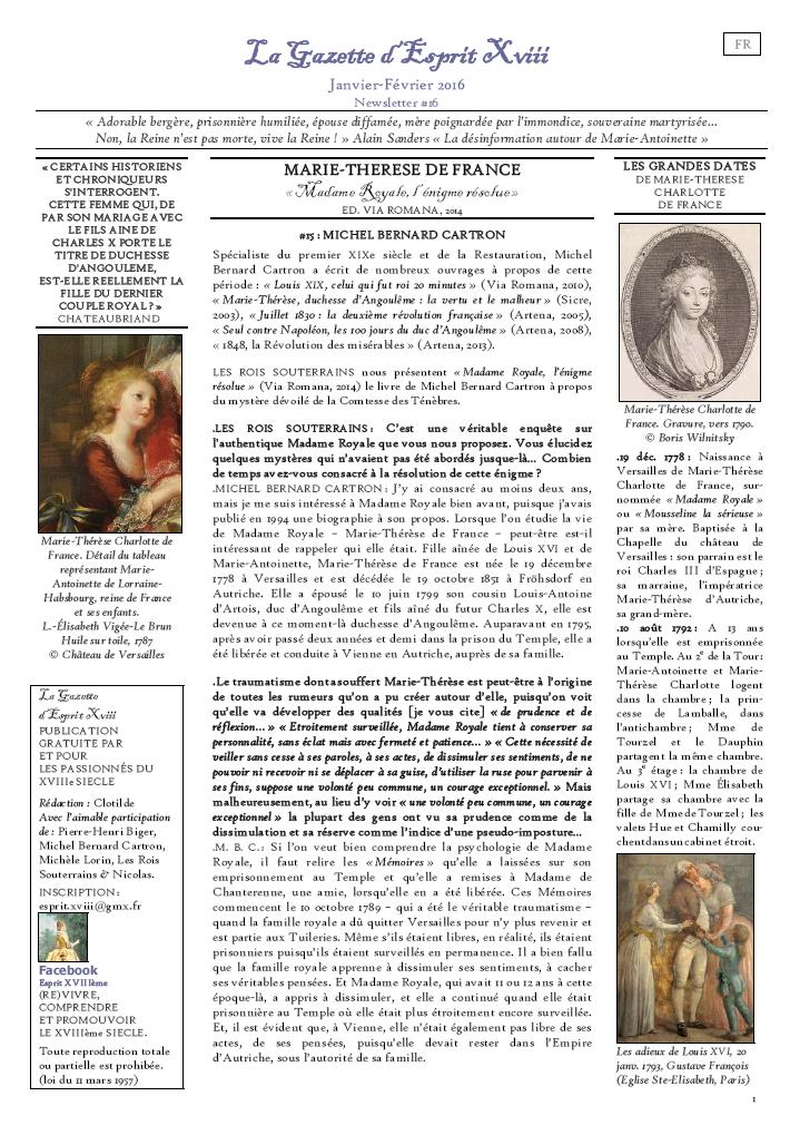 PREMIÈRE PAGE DE LA GAZETTE D'ESPRIT XVIII NUMÉRO 16