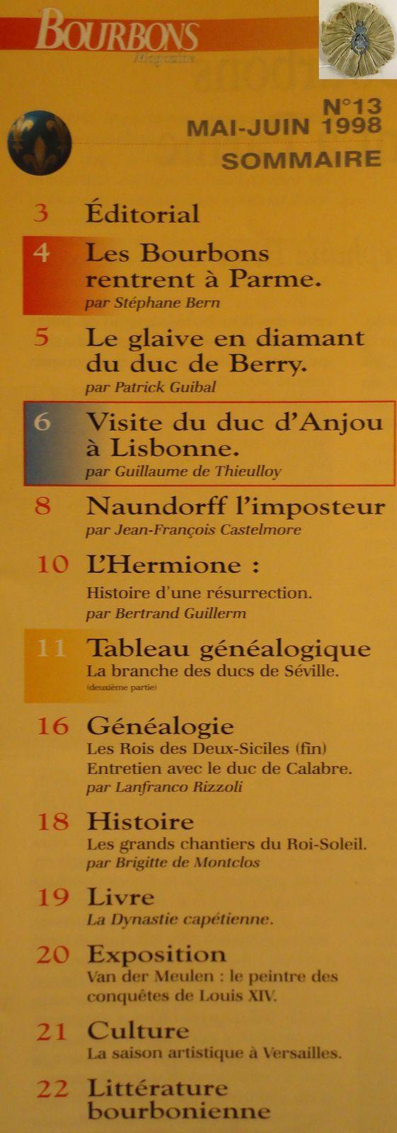 SOMMAIRE DE BOURBONS MAGAZINE NUMÉRO 13