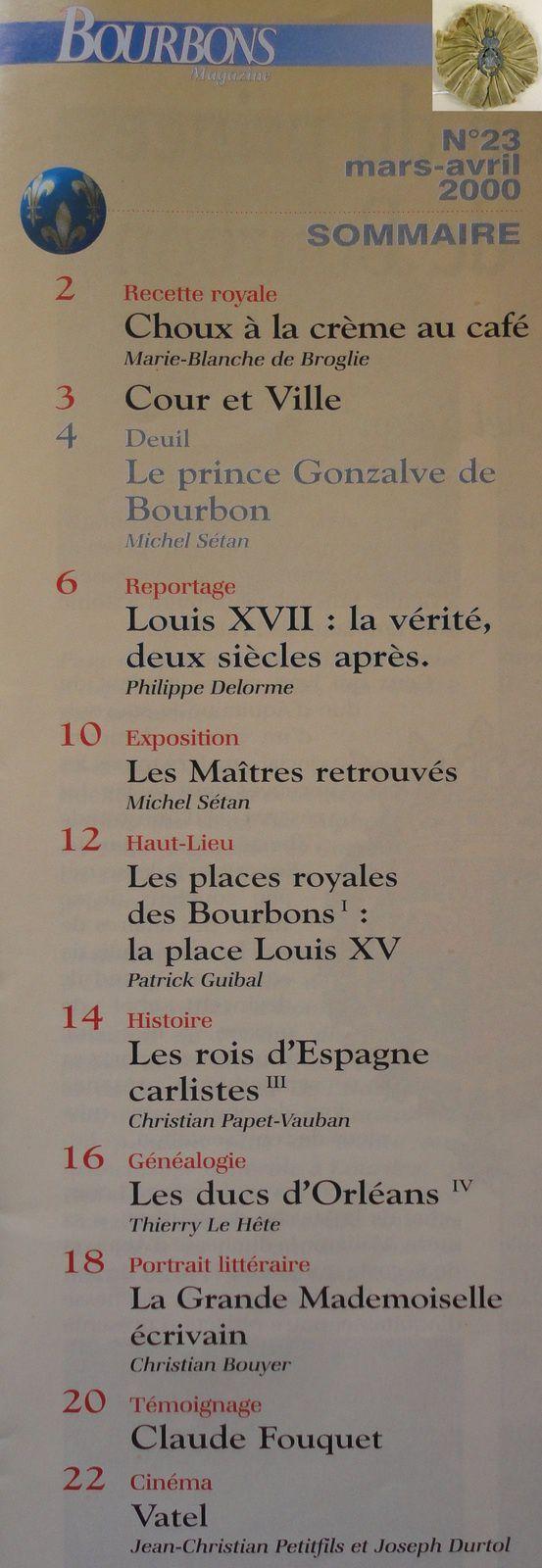SOMMAIRE DE BOURBONS MAGAZINE NUMÉRO 23