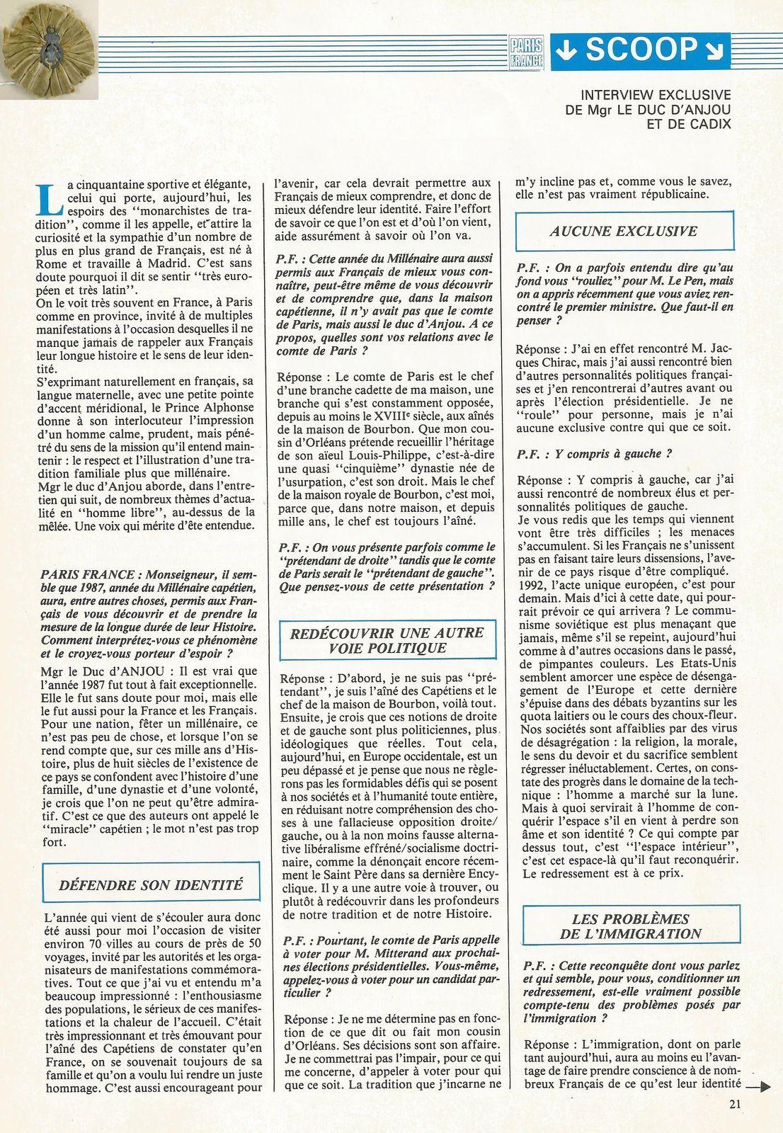 PARIS FRANCE - MARS-AVRIL 1988 (N° 3)