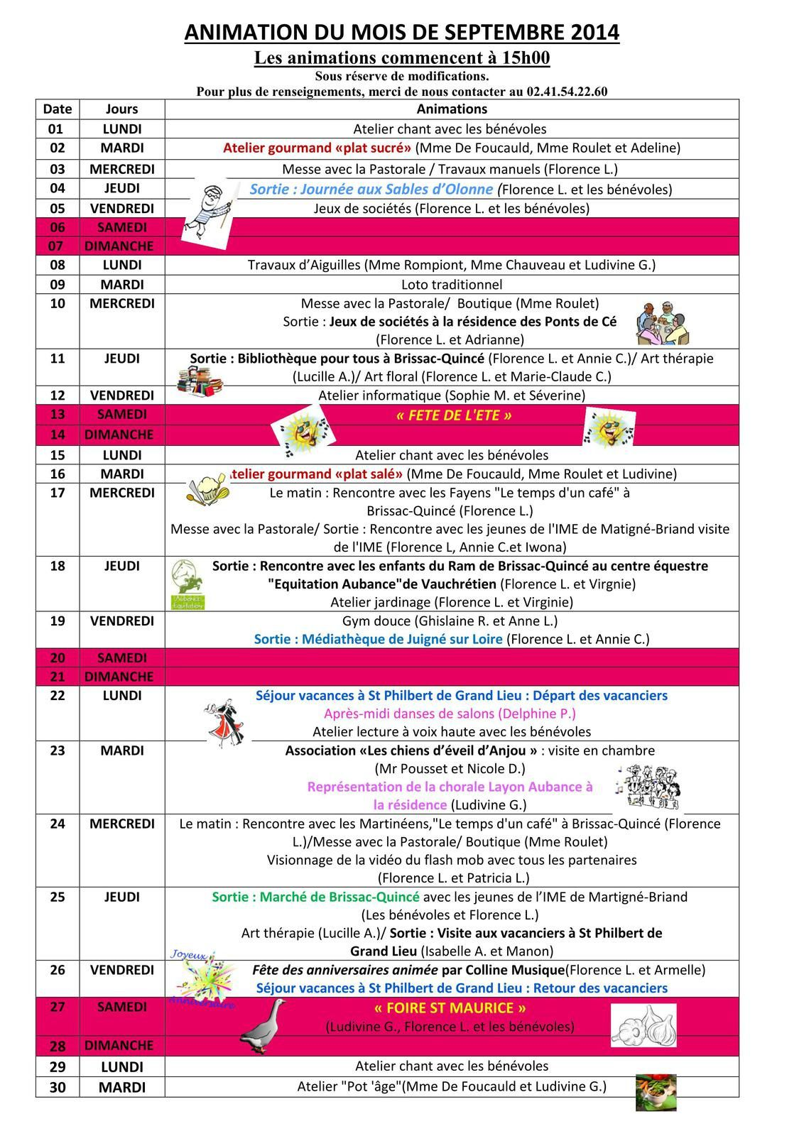 Programme des animations de septembre