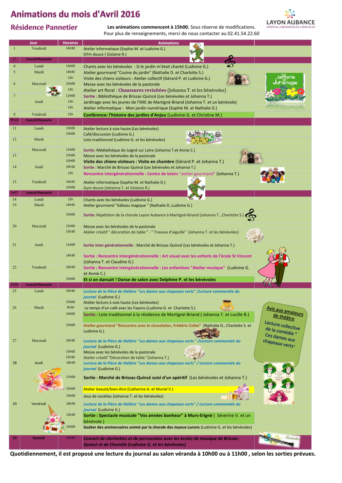 Programme des animations d'Avril