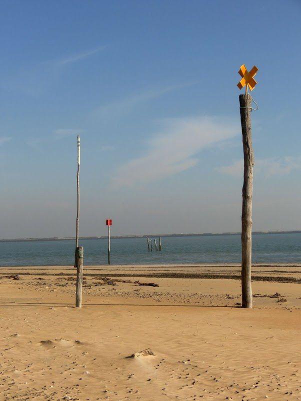 Droit devant, la Pointe d'Arçay accessible seulement à pied,sur 6km et demi .