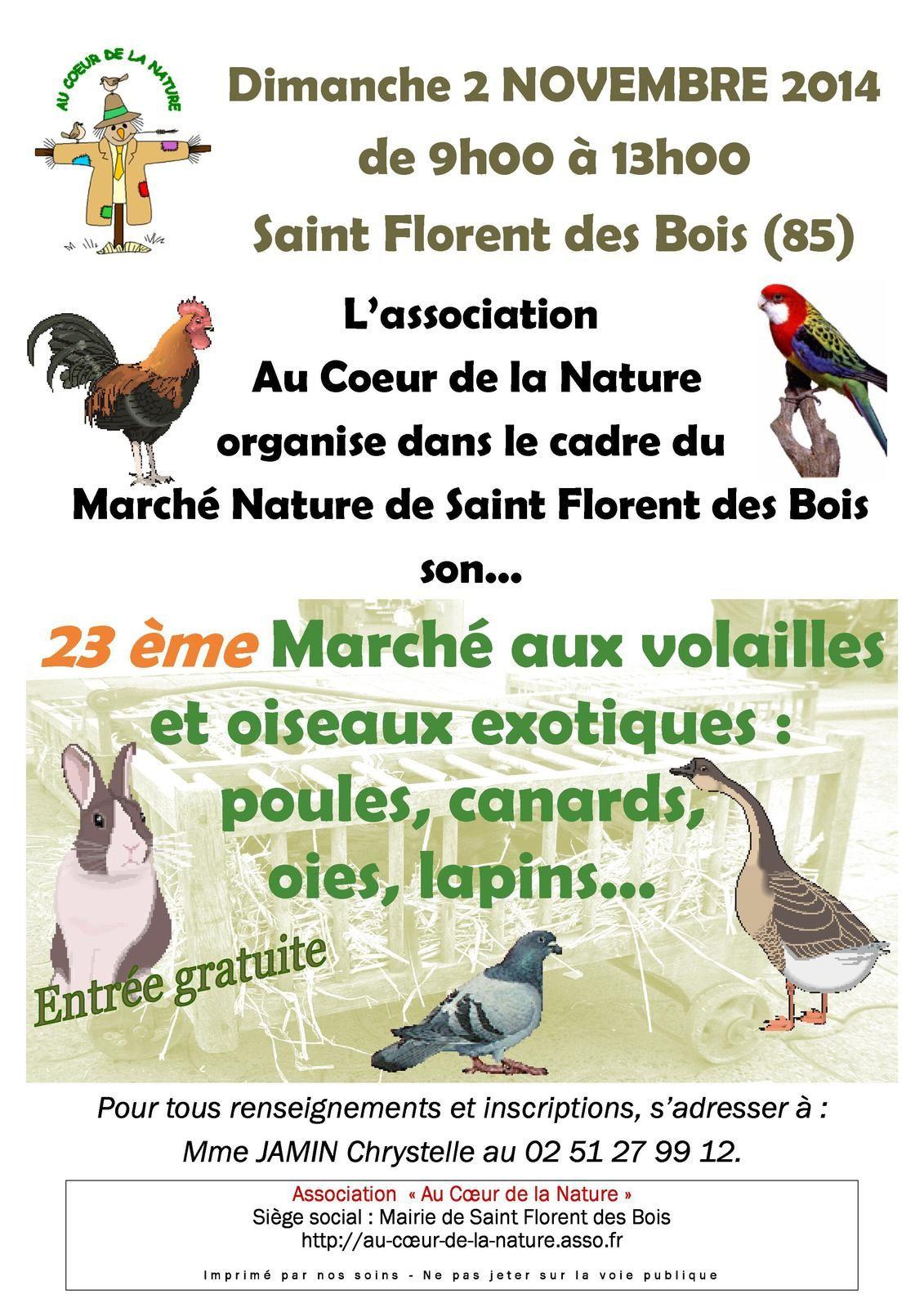 Marché aux volailles et aux oiseaux à Saint Florent des Bois