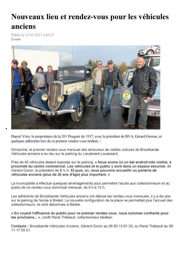 PARUTION OUEST FRANCE DE CETTE SEMAINE