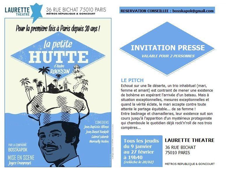 """Photos de la pièce """"La petite hutte"""" au théâtre Laurette"""