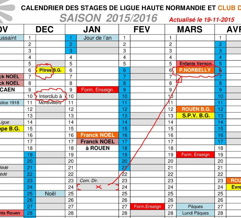 actualisation calendrier 19 11 2015 le blog de l 39 a kido club de rouen. Black Bedroom Furniture Sets. Home Design Ideas