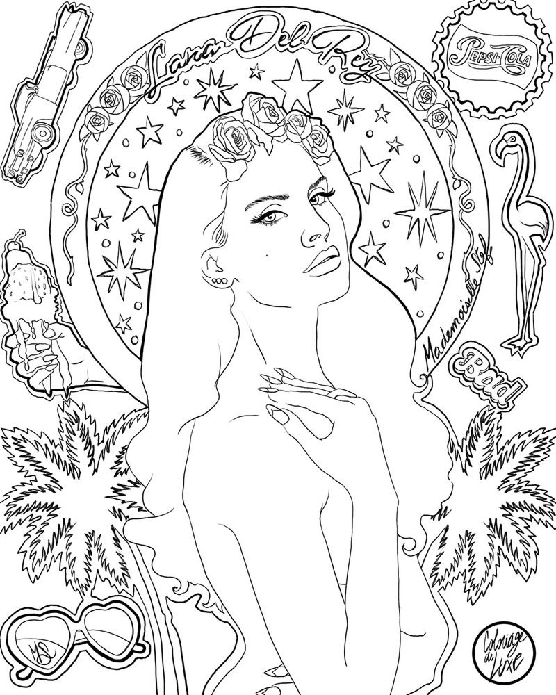 lana del rey coloring pages lana del rey coloring sheet coloring pages