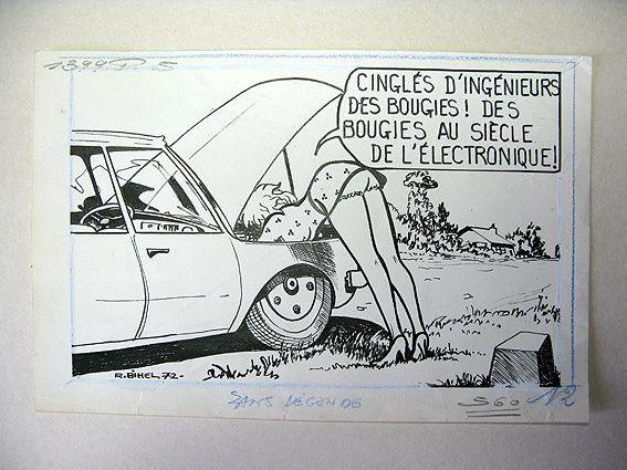 Encre de chine - dessin original de Roger Bihel - 1972